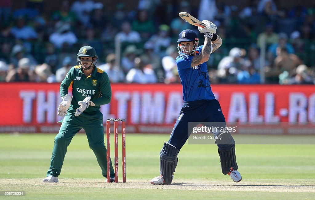 Alex Hales of England bats during the 2nd Momentum ODI between South Africa and England at St George's Park on February 6, 2016 in Port Elizabeth, South Africa.