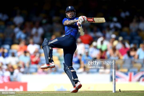 Alex Hales of England bats during the 3rd One Day International between the West Indies and England at Kensington Oval on March 9 2017 in Bridgetown...