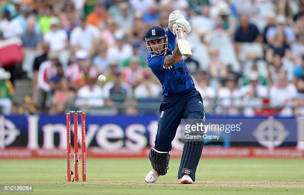 Alex Hales of England bats during the 5th Momentum ODI match between South Africa and England at Newlands Stadium on February 14 2016 in Cape Town...
