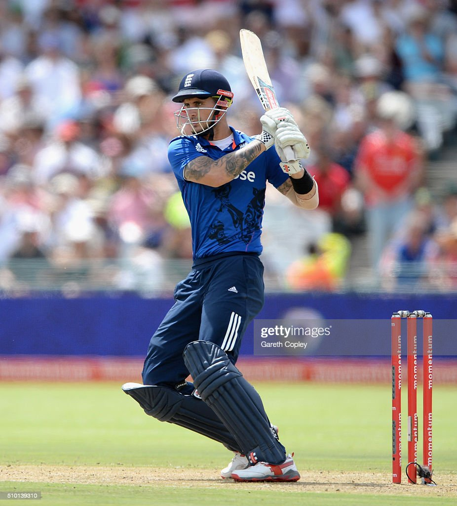 Alex Hales of England bats during the 5th Momentum ODI match between South Africa and England at Newlands Stadium on February 14, 2016 in Cape Town, South Africa.