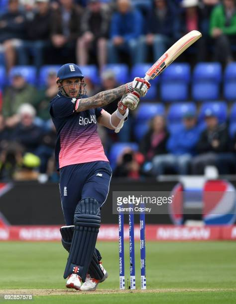 Alex Hales of England bats during the ICC Champions Trophy match between England v New Zealand at SWALEC Stadium on June 6 2017 in Cardiff Wales