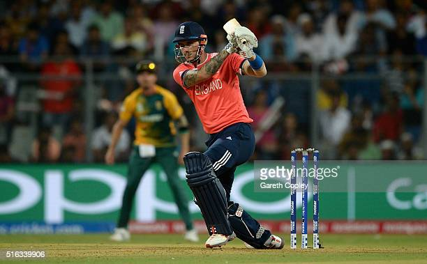 Alex Hales of England bats during the ICC World Twenty20 India 2016 Super 10s Group 1 match between South Africa and England at Wankhede Stadium on...