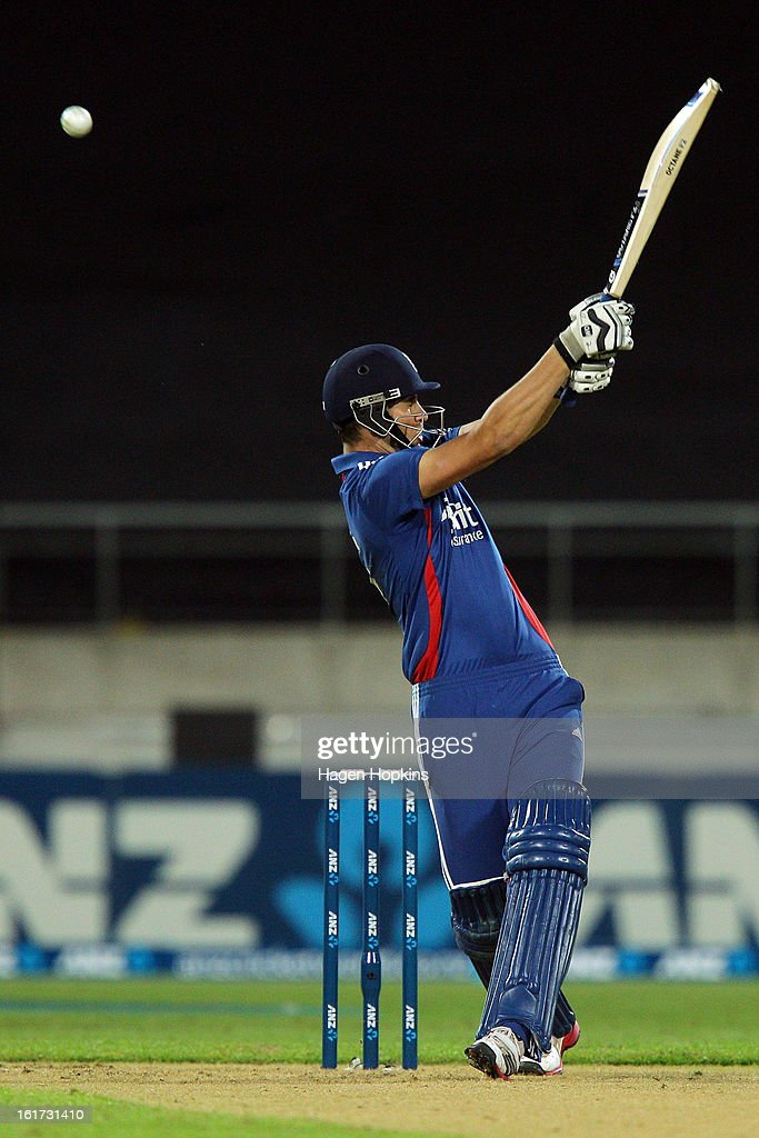 Alex Hales of England bats during the third Twenty20 International match between New Zealand and England at Westpac Stadium on February 15, 2013 in Wellington, New Zealand.
