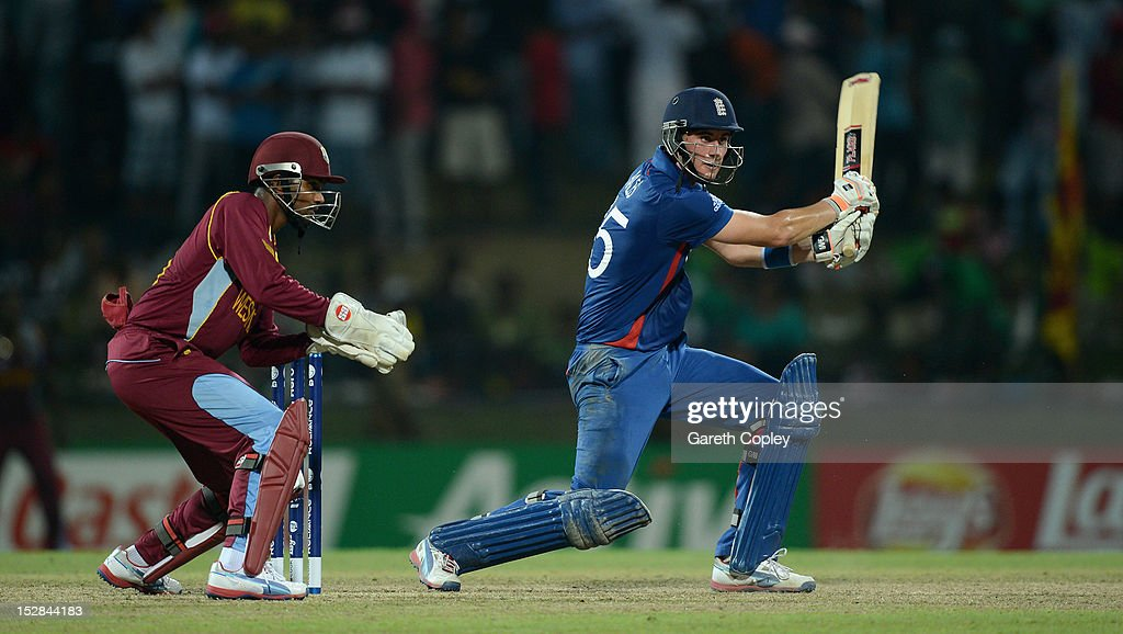 <a gi-track='captionPersonalityLinkClicked' href=/galleries/search?phrase=Alex+Hales&family=editorial&specificpeople=5129140 ng-click='$event.stopPropagation()'>Alex Hales</a> of England bats watched by West Indies wicketkeeper <a gi-track='captionPersonalityLinkClicked' href=/galleries/search?phrase=Denesh+Ramdin&family=editorial&specificpeople=542842 ng-click='$event.stopPropagation()'>Denesh Ramdin</a> during the ICC World Twenty20 2012 Super Eights Group 1 match between England and the West Indies at Pallekele Cricket Stadium on September 27, 2012 in Kandy, Sri Lanka.