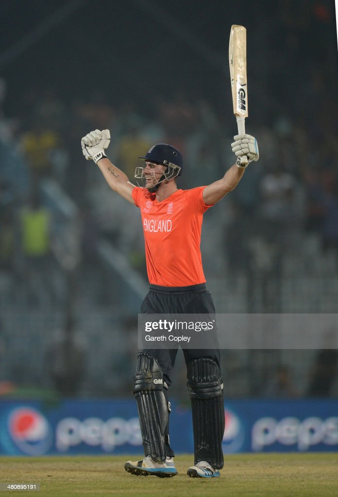 <a gi-track='captionPersonalityLinkClicked' href=/galleries/search?phrase=Alex+Hales&family=editorial&specificpeople=5129140 ng-click='$event.stopPropagation()'>Alex Hales</a> of England celebrates hitting the winning runs during the ICC World Twenty20 Bangladesh 2014 Group 1 match between England and Sri Lanka at Zahur Ahmed Chowdhury Stadium on March 27, 2014 in Chittagong, Bangladesh.