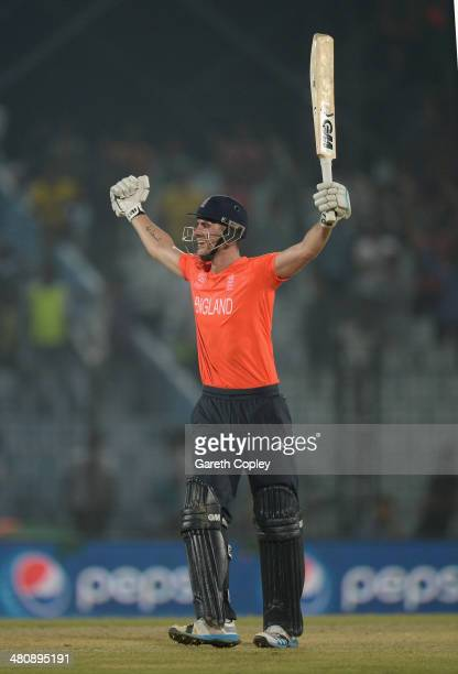 Alex Hales of England celebrates hitting the winning runs during the ICC World Twenty20 Bangladesh 2014 Group 1 match between England and Sri Lanka...