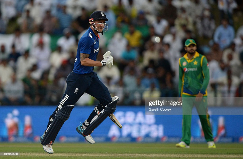 <a gi-track='captionPersonalityLinkClicked' href=/galleries/search?phrase=Alex+Hales&family=editorial&specificpeople=5129140 ng-click='$event.stopPropagation()'>Alex Hales</a> of England celebrates reaching his century during the 2nd One Day International between Pakistan and England at Zayed Cricket Stadium on November 13, 2015 in Abu Dhabi, United Arab Emirates.