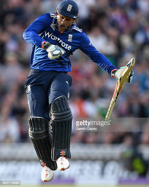 Alex Hales of England celebrates reaching his century during the 2nd ODI Royal London OneDay match between England and Sri Lanka at Edgbaston on June...