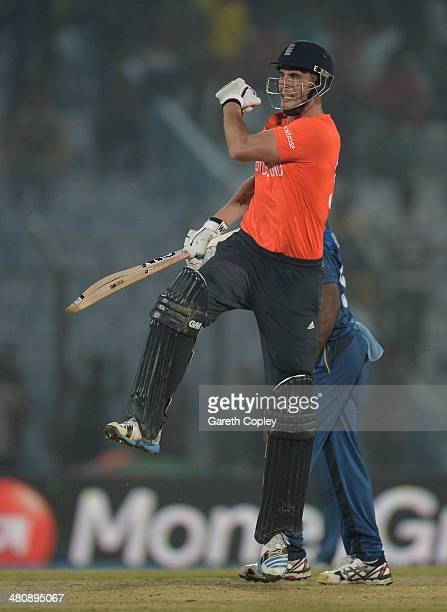 Alex Hales of England celebrates reaching his century during the ICC World Twenty20 Bangladesh 2014 Group 1 match between England and Sri Lanka at...