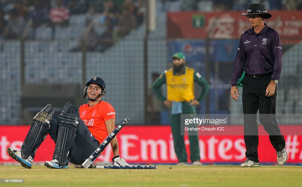 Alex Hales of England during an run out attempt by Dale Steyn of South Africa in the England v South Africa match at the ICC World Twenty20...