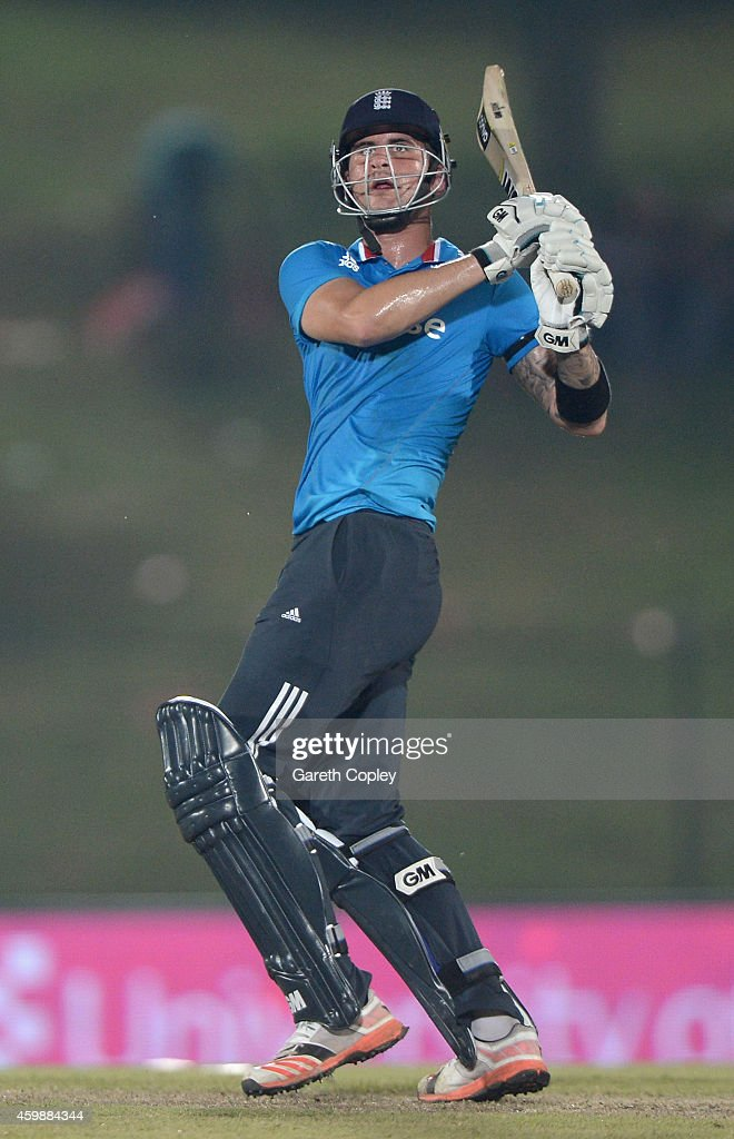 <a gi-track='captionPersonalityLinkClicked' href=/galleries/search?phrase=Alex+Hales&family=editorial&specificpeople=5129140 ng-click='$event.stopPropagation()'>Alex Hales</a> of England hits out for six runs during the 3rd One Day International between Sri Lanka and England at Mahinda Rajapaksa International Stadium on December 3, 2014 in Hambantota, Sri Lanka.