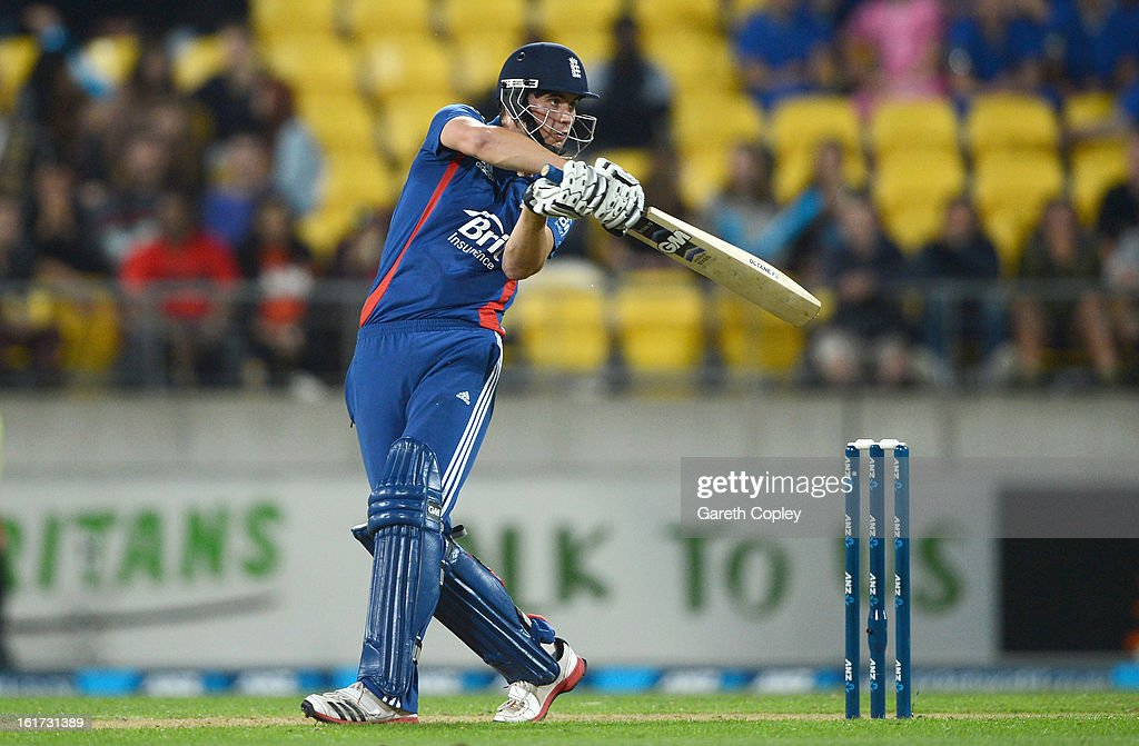 <a gi-track='captionPersonalityLinkClicked' href=/galleries/search?phrase=Alex+Hales&family=editorial&specificpeople=5129140 ng-click='$event.stopPropagation()'>Alex Hales</a> of England hits out for six runs during the third Twenty20 International match between New Zealand and England at Westpac Stadium on February 15, 2013 in Wellington, New Zealand.