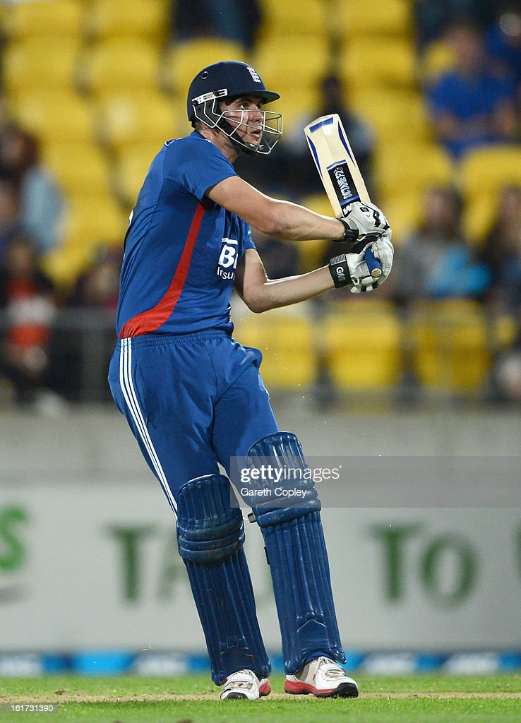 Alex Hales of England hits out for six runs during the third Twenty20 International match between New Zealand and England at Westpac Stadium on February 15, 2013 in Wellington, New Zealand.