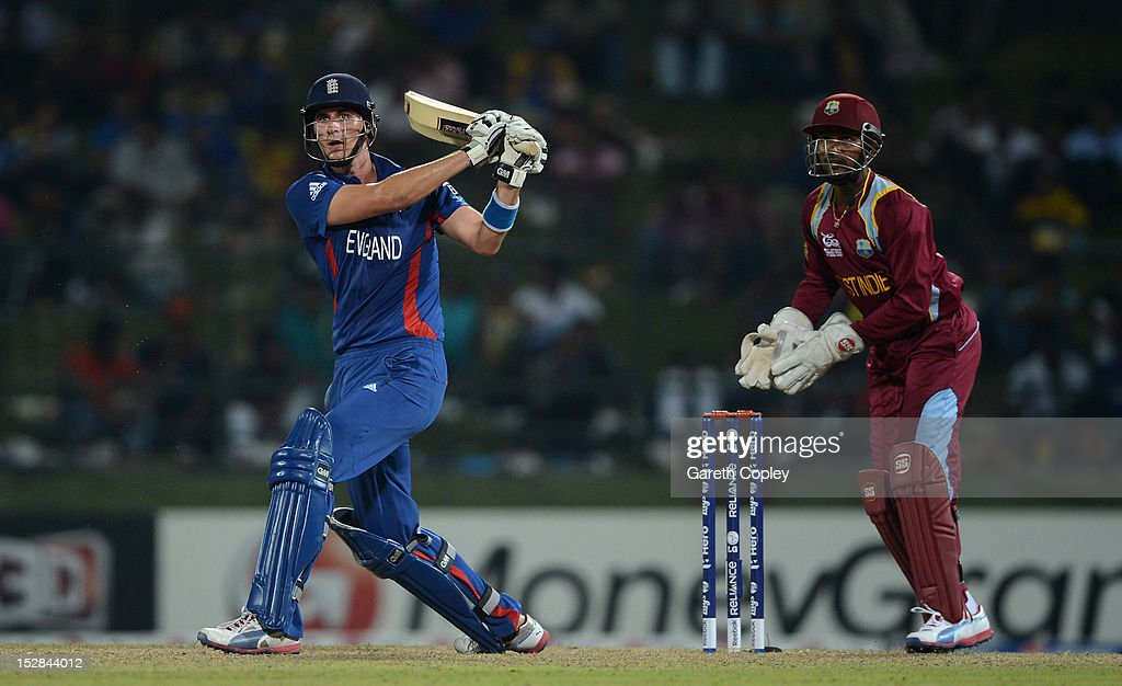 <a gi-track='captionPersonalityLinkClicked' href=/galleries/search?phrase=Alex+Hales&family=editorial&specificpeople=5129140 ng-click='$event.stopPropagation()'>Alex Hales</a> of England hits out for six runs watched by West Indies wicketkeeper <a gi-track='captionPersonalityLinkClicked' href=/galleries/search?phrase=Denesh+Ramdin&family=editorial&specificpeople=542842 ng-click='$event.stopPropagation()'>Denesh Ramdin</a> during the ICC World Twenty20 2012 Super Eights Group 1 match between England and the West Indies at Pallekele Cricket Stadium on September 27, 2012 in Kandy, Sri Lanka.