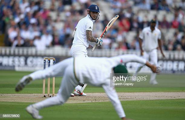 Alex Hales of England hits past Azhar Ali of Pakistan during day one of the 3rd Investec Test between England and Pakistan at Edgbaston on August 3...