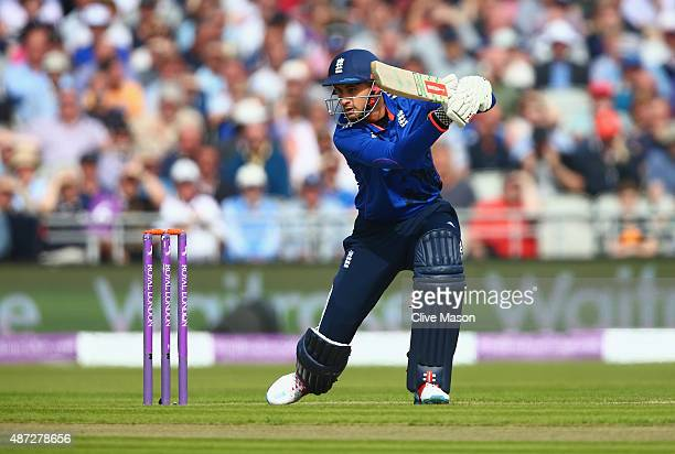 Alex Hales of England in action batting during the 3rd Royal London OneDay International match between England and Australia at Old Trafford on...
