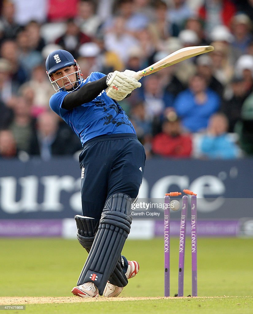 <a gi-track='captionPersonalityLinkClicked' href=/galleries/search?phrase=Alex+Hales&family=editorial&specificpeople=5129140 ng-click='$event.stopPropagation()'>Alex Hales</a> of England is bowled by Matt Henry of New Zealand during the 4th ODI Royal London One-Day match between England and New Zealand at Trent Bridge on June 17, 2015 in Nottingham, England.