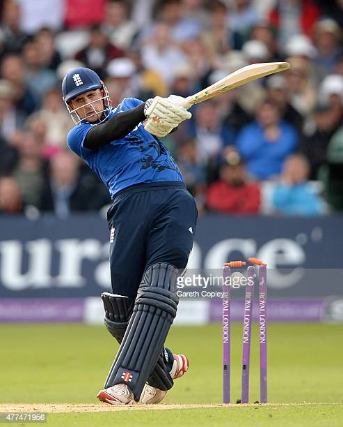 Alex Hales of England is bowled by Matt Henry of New Zealand during the 4th ODI Royal London OneDay match between England and New Zealand at Trent...