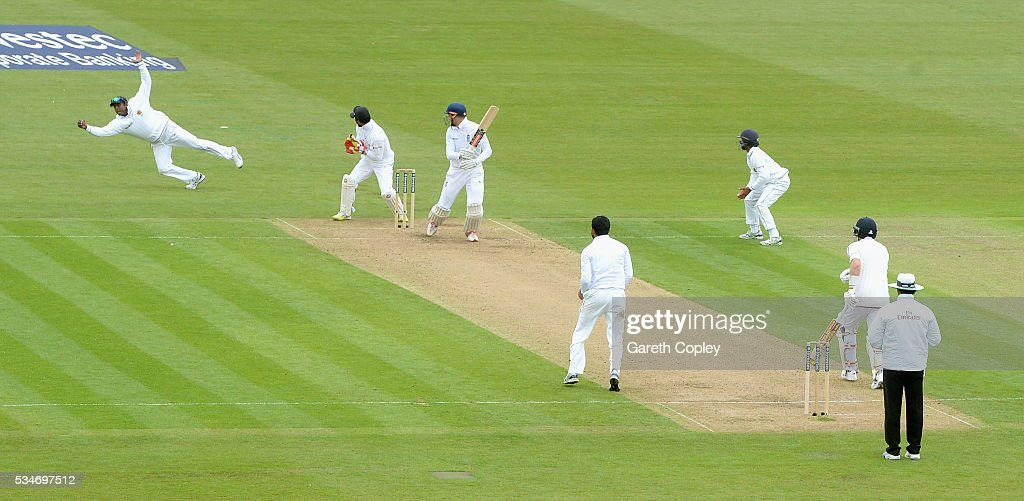 <a gi-track='captionPersonalityLinkClicked' href=/galleries/search?phrase=Alex+Hales&family=editorial&specificpeople=5129140 ng-click='$event.stopPropagation()'>Alex Hales</a> of England is caught out by <a gi-track='captionPersonalityLinkClicked' href=/galleries/search?phrase=Angelo+Mathews&family=editorial&specificpeople=5622021 ng-click='$event.stopPropagation()'>Angelo Mathews</a> of Sri Lanka during day one of the 2nd Investec Test match between England and Sri Lanka at Emirates Durham ICG on May 27, 2016 in Chester-le-Street, United Kingdom.