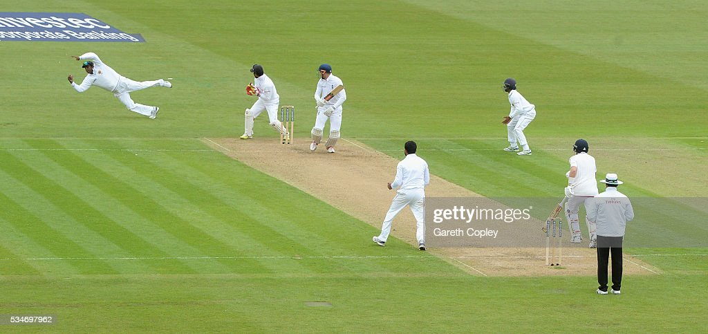 Alex Hales of England is caught out by Angelo Mathews of Sri Lanka during day one of the 2nd Investec Test match between England and Sri Lanka at Emirates Durham ICG on May 27, 2016 in Chester-le-Street, United Kingdom.