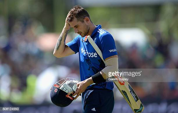 Alex Hales of England leaves the field after being dismissed by Marchant de Lange of South Africa during the 1st Momentum ODI match between South...
