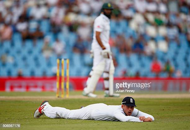 Alex Hales of England looks on after a miss catch chance during day three of the 4th Test at Supersport Park on January 24 2016 in Centurion South...