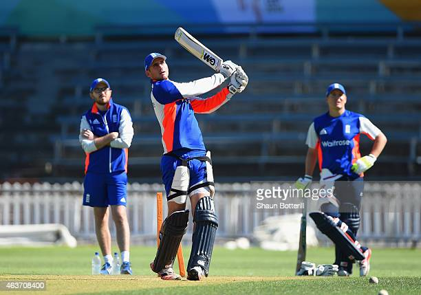 Alex Hales of England plays a shot as Gary Ballance looks on during an England nets session at Basin Reserve on February 18 2015 in Wellington New...
