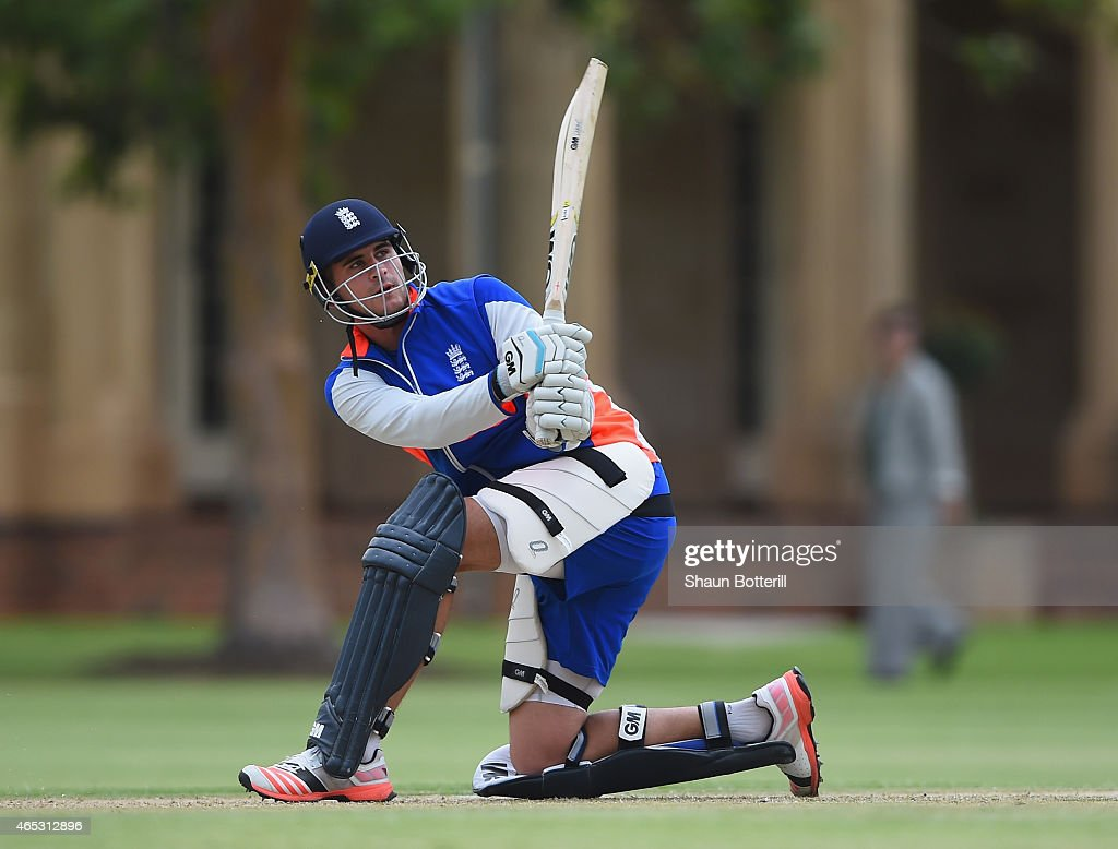 <a gi-track='captionPersonalityLinkClicked' href=/galleries/search?phrase=Alex+Hales&family=editorial&specificpeople=5129140 ng-click='$event.stopPropagation()'>Alex Hales</a> of England plays a shot during an England nets session at St Peter's College on March 6, 2015 in Adelaide, Australia.