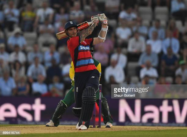 Alex Hales of England plays a shot during the 1st NatWest T20 International match between England and South Africa at Ageas Bowl on June 21 2017 in...