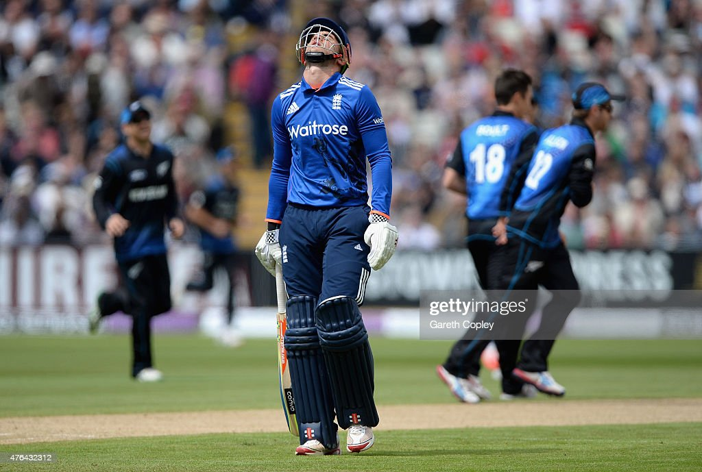 <a gi-track='captionPersonalityLinkClicked' href=/galleries/search?phrase=Alex+Hales&family=editorial&specificpeople=5129140 ng-click='$event.stopPropagation()'>Alex Hales</a> of England reacts of being dismissed during the 1st ODI Royal London One-Day match between England and New Zealand at Edgbaston on June 9, 2015 in Birmingham, England.