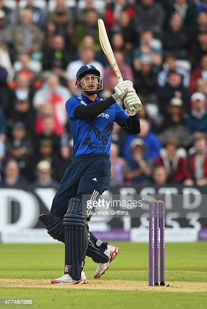 Alex Hales of England smashes the ball for six runs during the 4th ODI Royal London OneDay International between England and New Zealand at Trent...