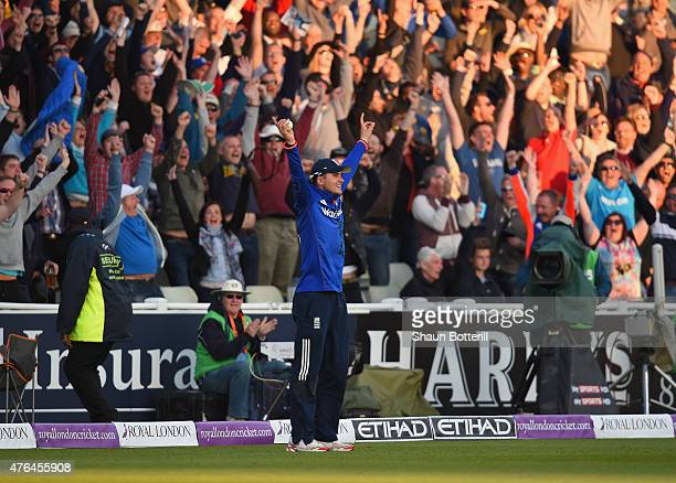 Alex Hales of England takes a catch for the final wicket during the 1st ODI Royal London OneDay Series 2015 match between England and NewZealand at...