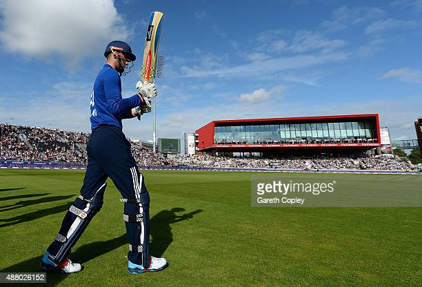 Alex Hales of England walks out ahead of the 5th Royal London OneDay International match between England and Australia at Old Trafford on September...