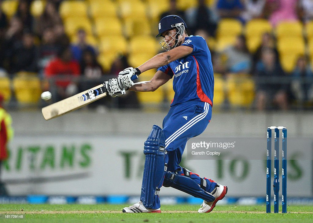 <a gi-track='captionPersonalityLinkClicked' href=/galleries/search?phrase=Alex+Hales&family=editorial&specificpeople=5129140 ng-click='$event.stopPropagation()'>Alex Hales</a> of Englang bats during the third Twenty20 International match between New Zealand and England at Westpac Stadium on February 15, 2013 in Wellington, New Zealand.