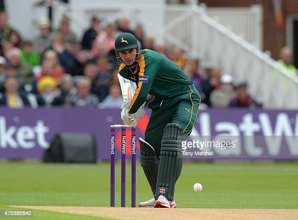 Alex Hales of Nottingham Outlaws bats during the NatWest T20 Blast between Nottingham Outlaws and Durham Jets at Trent Bridge on May 31 2015 in...