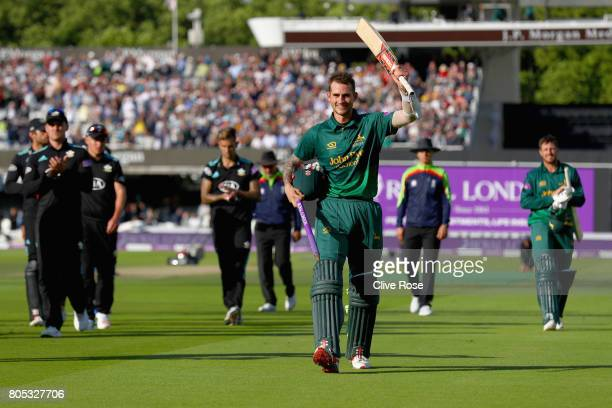 Alex Hales of Nottinghamshire celebrates as he leaves the field after the Royal London OneDay Cup Final betwen Nottinghamshire and Surrey at Lord's...