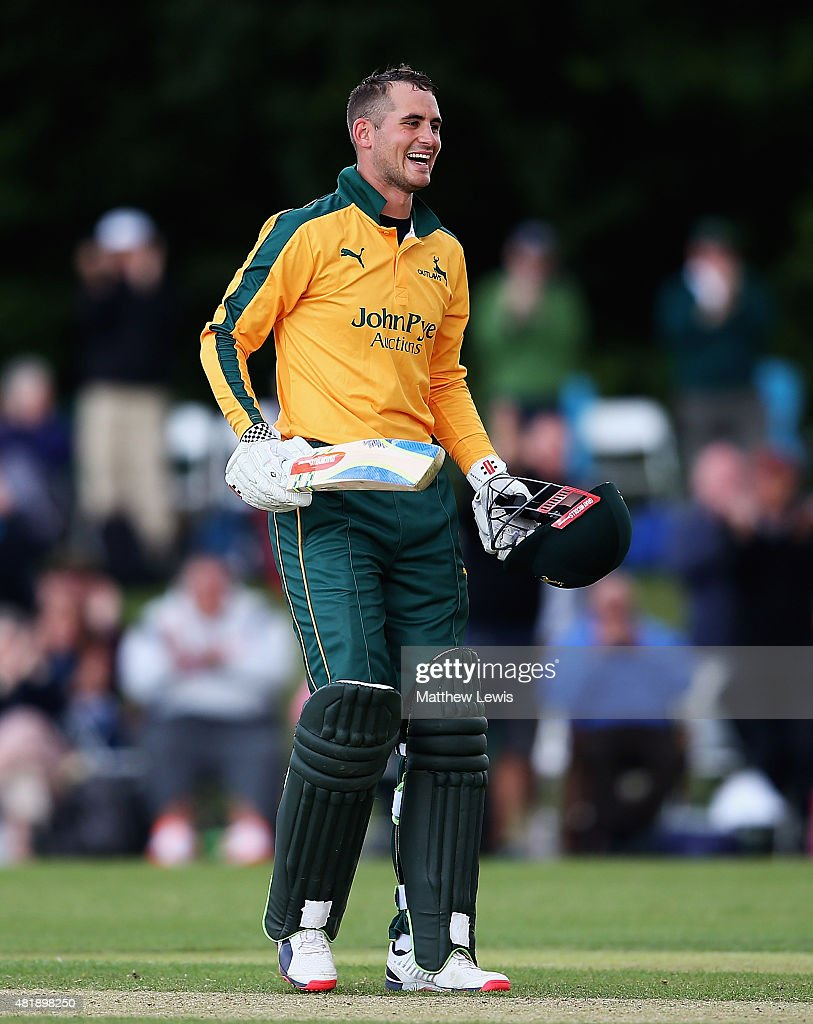 <a gi-track='captionPersonalityLinkClicked' href=/galleries/search?phrase=Alex+Hales&family=editorial&specificpeople=5129140 ng-click='$event.stopPropagation()'>Alex Hales</a> of Nottinghamshire celebrates his century during the Royal London One-Day Cup match between Nottinghamshire and Warwickshire at Welbeck Colliery Cricket Ground on July 25, 2015 in Mansfield, England.