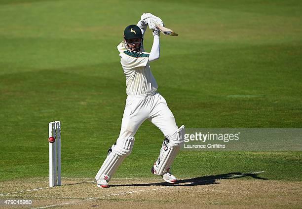 Alex Hales of Nottinghamshire hits out during day two of the LV County Championship match between Nottinghamshire and Worcestershire at Trent Bridge...