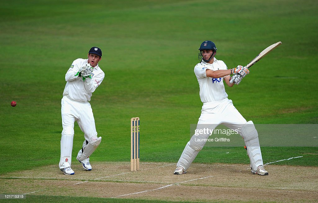 Alex Hales of Nottinghamshire hits past his century in front of Phil Mustard of Durham during the LV County Championship match between...