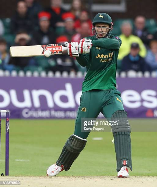 Alex Hales of Nottinghamshire hits the ball to the boundary during the NatWest T20 Blast match between Leicestershire Foxes and Nottinghamshire...