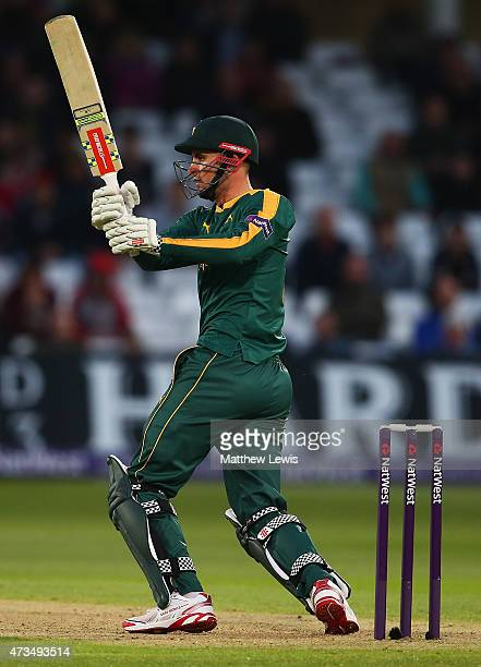 Alex Hales of Nottinghamshire hits the ball towards the boundary during the NatWest T20 Blast match between Nottinghamshire and Warwickshire at Trent...