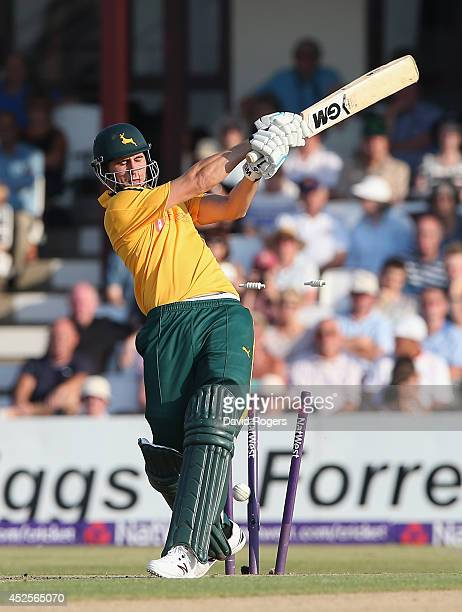 Alex Hales of Nottinghamshire is bowled by Steven Crook during the Natwest T20 Blast match between Northamptonshire Steelbacks and Nottinghamshrie...