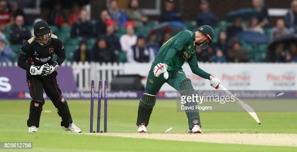 Alex Hales of Nottinghamshire is stumped by wicket keeper Luke Ronchi during the NatWest T20 Blast match between Leicestershire Foxes and...