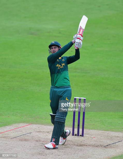 Alex Hales of Nottinghamshire Outlaws bats during the NatWest T20 Blast between Nottinghamshire Outlaws and Northamptonshire Steelbacks at Trent...