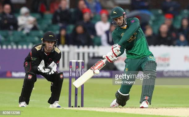 Alex Hales of Nottinghamshire pulls the ball to the boundary during the NatWest T20 Blast match between Leicestershire Foxes and Nottinghamshire...