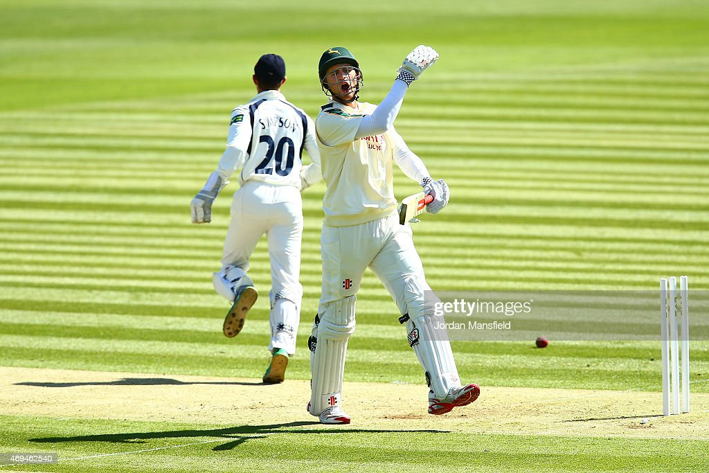 <a gi-track='captionPersonalityLinkClicked' href=/galleries/search?phrase=Alex+Hales&family=editorial&specificpeople=5129140 ng-click='$event.stopPropagation()'>Alex Hales</a> of Nottinghamshire reacts after being run out by Tim Murtagh of Middlesex during day one of the LV County Championship Division One match between Middlesex and Nottinghamshire at Lord's Cricket Ground on April 12, 2015 in London, England.