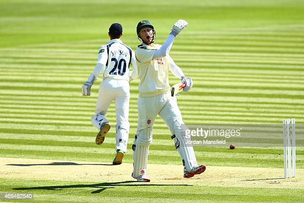 Alex Hales of Nottinghamshire reacts after being run out by Tim Murtagh of Middlesex during day one of the LV County Championship Division One match...