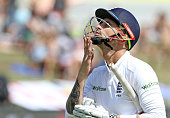 Alex Hales walks off after losing his wicket during the day 3 of the 1st test match between South Africa and England at Sahara Stadium Kingsmead on...