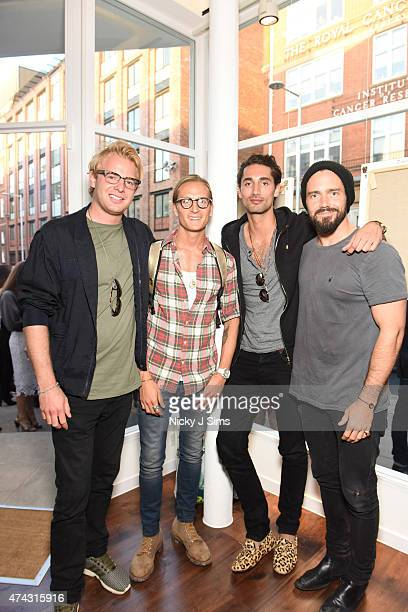 Alex Hall Oliver Proudlock Hugo Taylor and Spencer Matthews at the launch of The Dot Project group show 'Distorted Vision' on May 21 2015 in London...