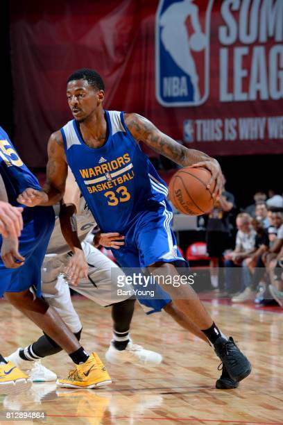 Alex Hamilton of the Golden State Warriors handles the ball against the Minnesota Timberwolves on July 11 2017 at the Thomas Mack Center in Las Vegas...